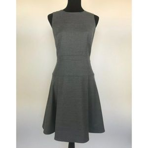 J.CREW Gray Pleated Flannel Wool A-Line Dress 8
